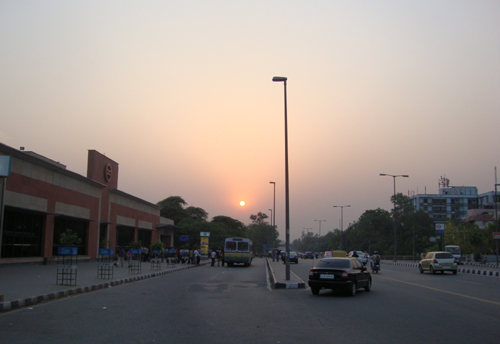 Sunset in Delhi University with the Delhi Metro in the vicinity