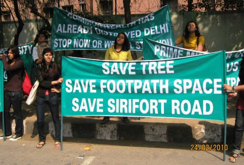 Students Protest Against Felling of Trees, Eating of Footpath Space