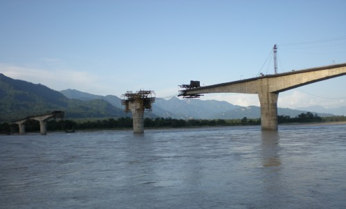 Bridge over Siang River in Arunachal Pradesh