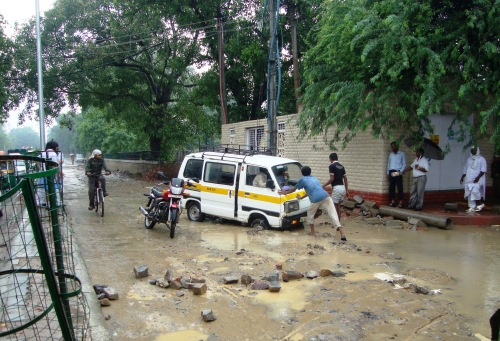 School Van stuck in monsoon rains