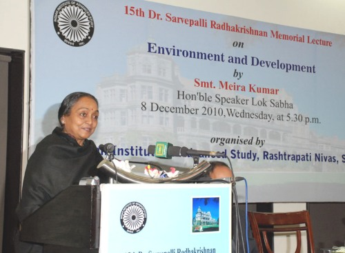 Lok Sabha Speaker Smt. Meira Kumar delivering the Dr. Sarvepalli Radhakrishnan Memorial Lecture on 'Environment and Development'