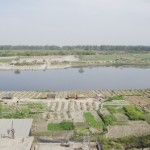 Aerial image of Yamuna river and farming on its floodplain