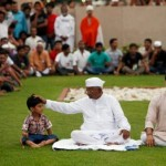 Anna Hazare at Rajghat in Delhi