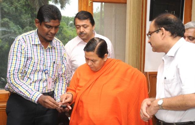 uma-bharti-launches-mobile-app