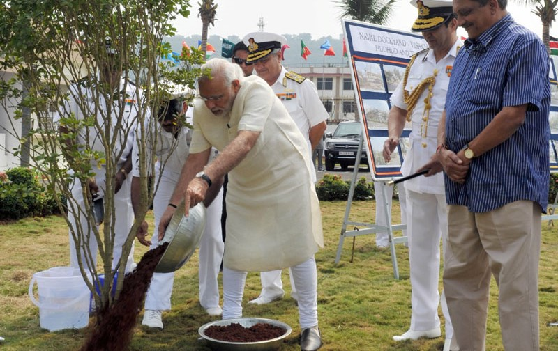 PM Narendra Modi Plants a Sapling at Visakhapatnam