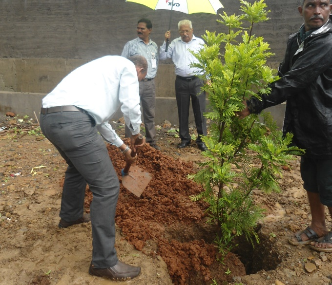 Mumbai Airport Plants Trees During Van Mahostav