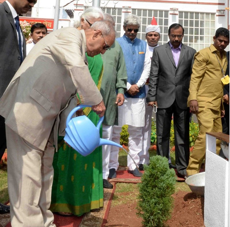 His Excellency President of India Planting a Sapling in Raj Bhawan, Goa