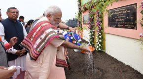 Prime Minister Narendra Modi Plants Sapling at Amreli, Gujarat