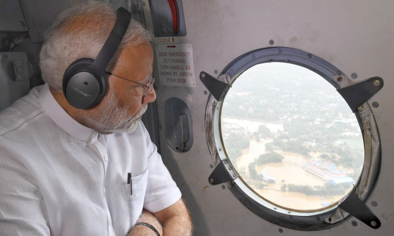 PM Narendra Modi Conducting Aerial Survey of Kerala Floods
