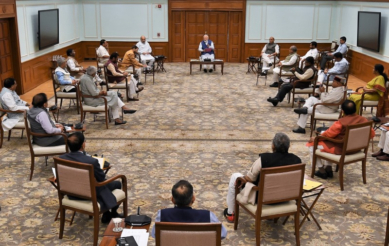 Social Distancing at Display During Cabinet Meeting Called by PM