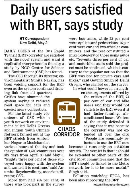 Delhi Greens BRT Survey