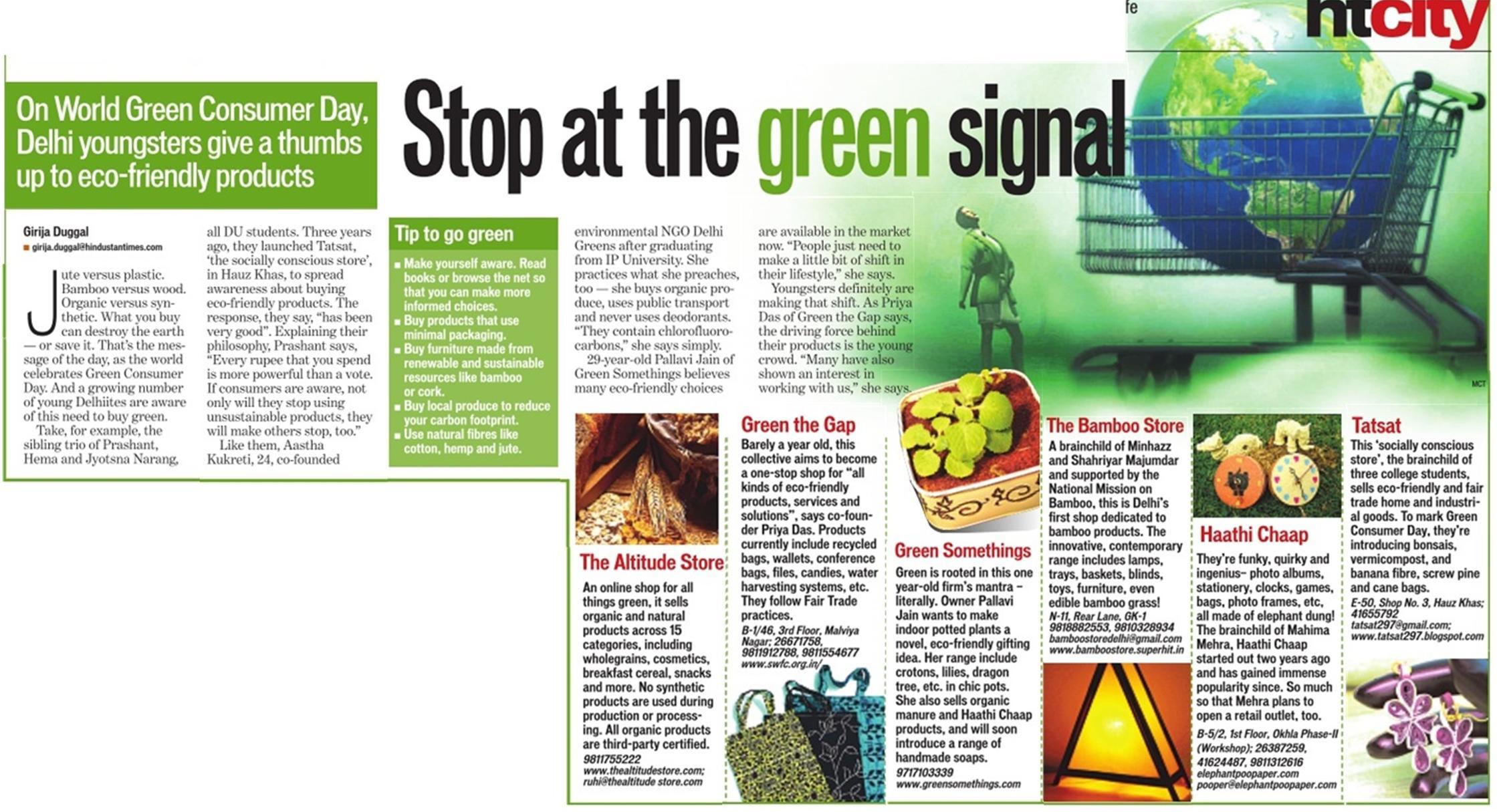Stop at the Green Signal - Green Consumer Day, Hindustan Times
