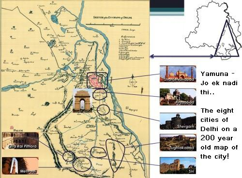 Historical map of Delhi showing the Yamuna river