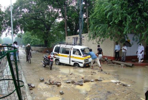 School Van stuck in monsoon rains