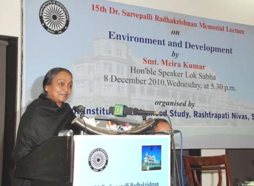 Lok Sabha Speaker Smt. Meira Kumar delivering the Dr. Sarvepalli Radhakrishnan Memorial Lecture on 'Environment and Development'