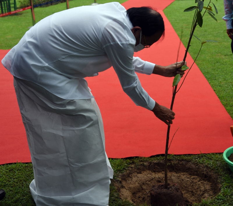 Vice President Plants Rudraksha Tree in Parliament House