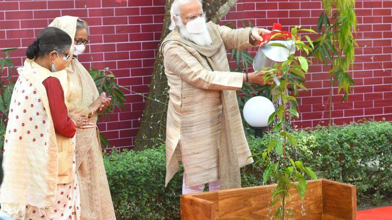 PM Narendra Modi Plants Sapling in Bangladesh