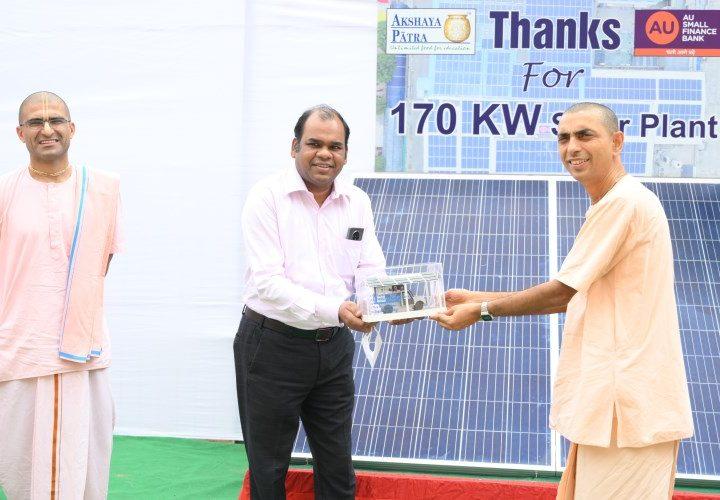 Solar Power Grid Installation by AU Bank at Akshay Patra Kitchen